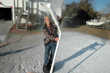 Todd Jachimiak with his snowmaker